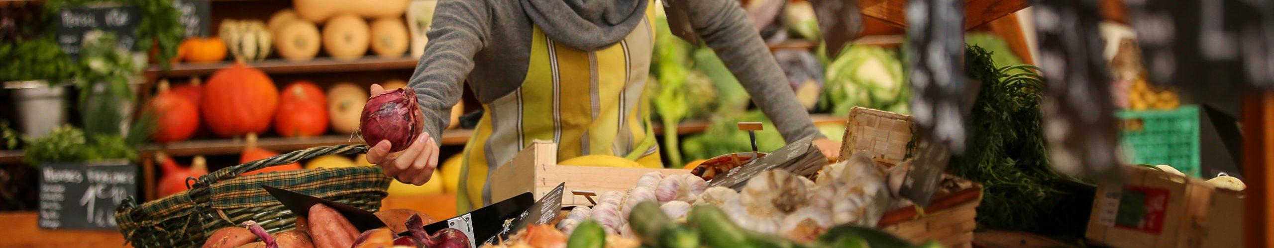 vegetables seller in retail store